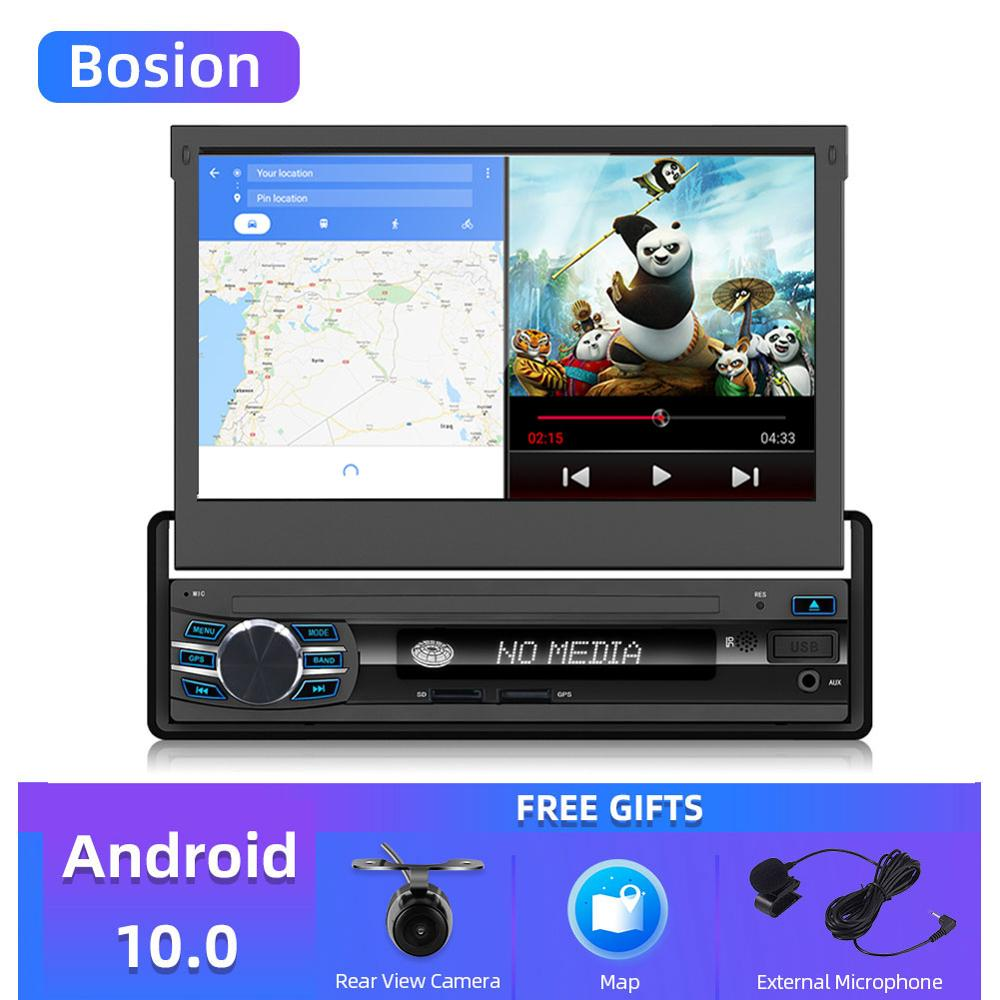 Bosion Car Radio 1 din Android 10 Wifi Autoradio Stereo Player Universal GPS Navigation Retractable Screen Bluetooth Free camera image