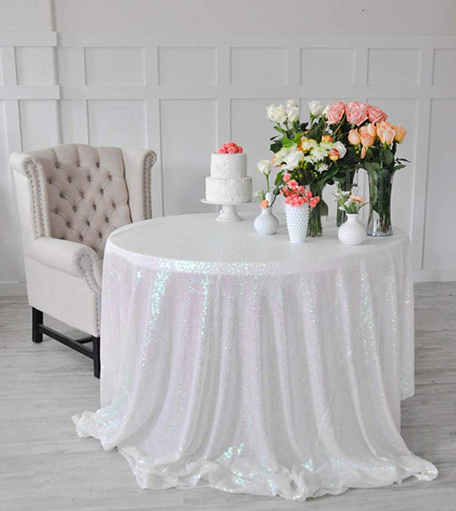 ShinyBeauty 5ft-Changed White-Round Sparkle Tablecloth,Table Cloth Party,Glitter Table Cloth-R