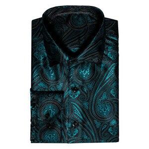 Image 3 - בארי. וואנג טורקיז פייזלי פרחוני משי חולצות גברים סתיו ארוך שרוול מזדמן פרח חולצות לגברים מעצב Fit שמלת חולצה BCY 05