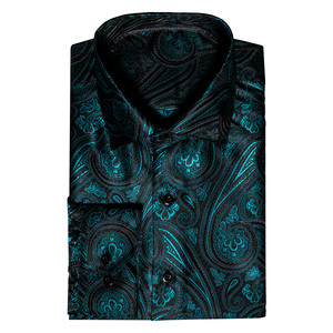 Image 3 - Barry.Wang 청록색 페이즐리 꽃 실크 셔츠 남자 가을 긴 소매 캐주얼 꽃 셔츠 디자이너 맞는 드레스 셔츠 BCY 05