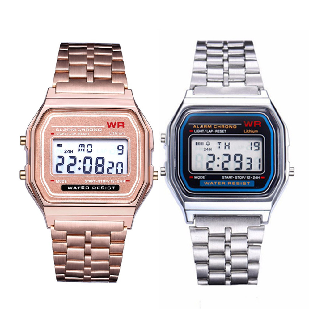 New Stylish Women\x27s Watches Full Steel Watchband Analog Electronic LED Digital Clock Ladies WristWatch Relogio Feminino 2019