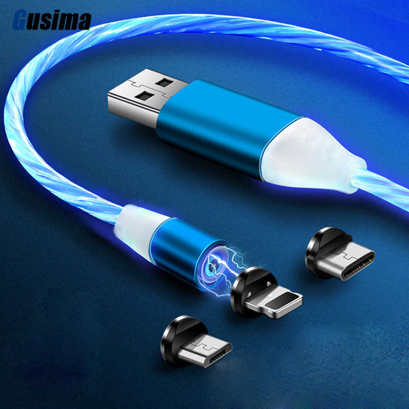 Flowing Light magnetic cable Micro Type c cable magnetic charger Data Charge Micro USB Cable Mobile Phone Cable USB Cord