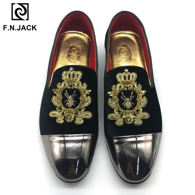 F. N. JACK classique noir velours chaussures pour hommes décontracté en caoutchouc mocassins pour homme avec décoration Vintage grande taille homme chaussures 46-48