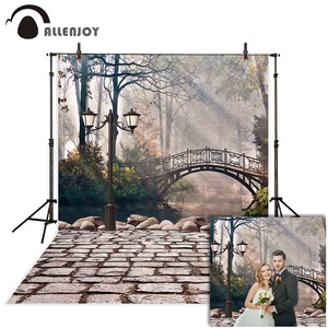 Image 1 - Allenjoy photophone backdrop for photographic studio European Arch bridge street lake wedding background fotografia photocall