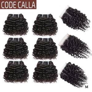 Code Calla Kinky Curly Hair Bundles with 4*4 Lace Closure Indian Remy Human Hair Extensions Natural Dark Brown Color Curly Hair