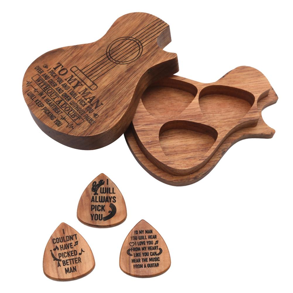 3Pcs Wood Guitar Pick Acoustic Electric Bass Plectrum Mediator Musical Instrument Guitar Parts & Accessories With Box