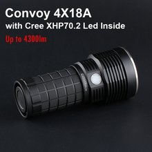 Most Powerful Led Flashlight Torch Convoy 4X18A with CREE XHP70.2 Led 4300lm Type-c Charging Rechargeable 4*18650 Flash Light