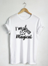 I'm Magical-unicornio camisa lindo divertido dibujo mágico camiseta cumpleaños Creature Magic camiseta caballo Animal místico Glitter-J803(China)