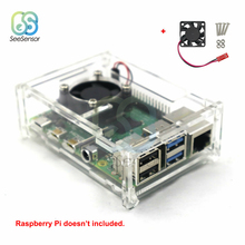 Transparent Acrylic Case Cover Shell Enclosure Box with Cooling Fan for Raspberry Pi 4 Model B цены
