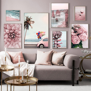 Wall Art Canvas Painting Pink Beach Flower Surfboard Car Nordic Posters And Prints Landscape Wall Pictures For Living Room Decor