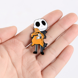Jack Skellington Skeleton Enamel Pin Custom Movie Brooches for Shirt Lapel Bag Halloween Badge Punk Jewelry Gift for Friends