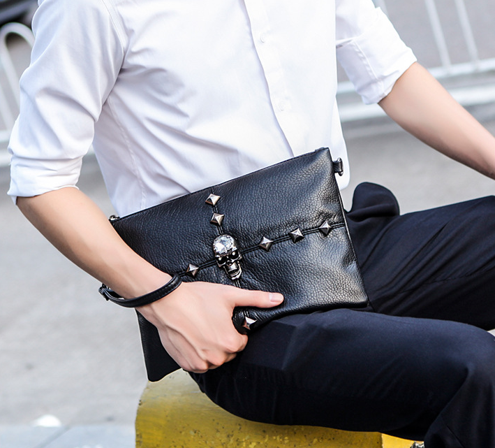 Fashion Men Skull Cross Thin Briefcase High Personality Office Clutch Bag Black All-match Shoulder Bags Bolso Hombre DF275