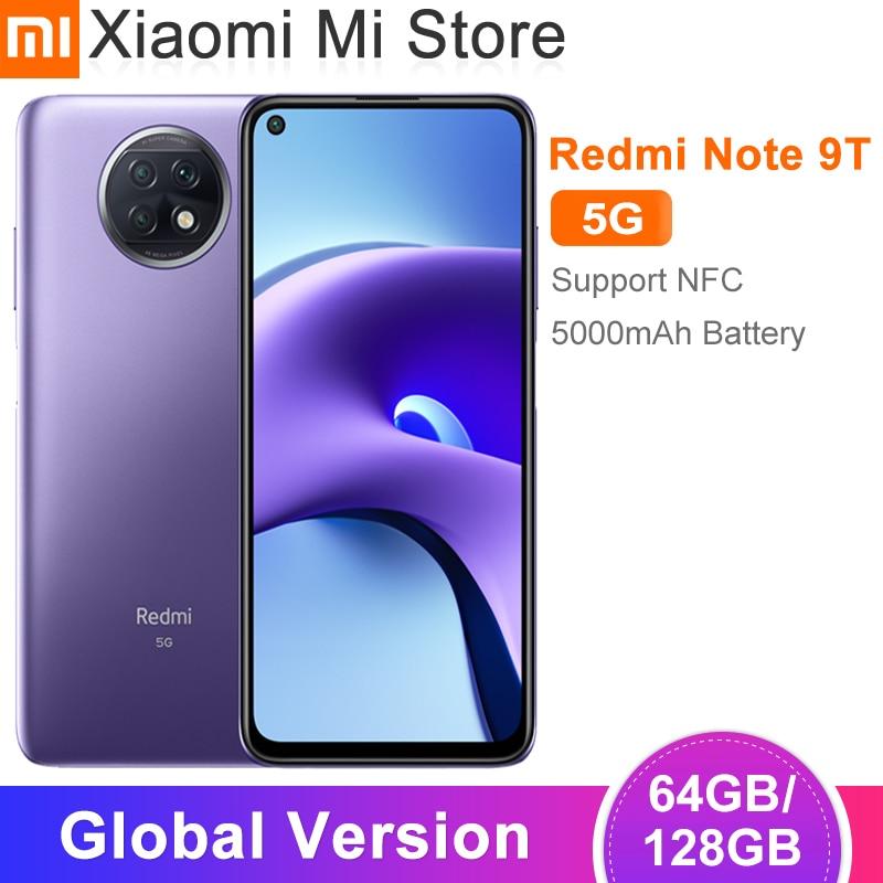 Глобальная версия Xiaomi Redmi Note 9T 5G мобильный телефон 4GB оперативной памяти, 64 Гб встроенной памяти/128 ГБ ROM Dimensity 800U 48MP камера 5000mAh батарея 6,53 ''NFC
