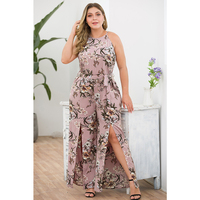 Woman Plus Size Floral Printing Jumpsuit Sleeveless O neck Playsuit 2019 High Street Elegant Wide Leg Split Clothes with Sashes