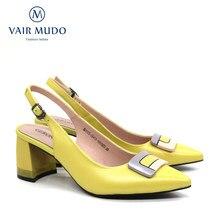 Vair mudo moda bombas de salto grosso sapatos femininos couro genuíno amarelo apontado fivela senhoras qualidade superior único alta heeld61
