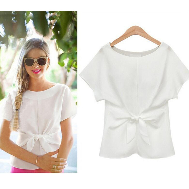 2020 Women Summer Short Sleeve Bow Knot Chiffon Blouse Shirt Ladies Casual Top Tee Shirt 4