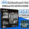 JINGSHA X99 dual motherboard set with 2pcs XEON E5 2678V3 Processor 4pcs 16GB DDR4 2400MHZ ECC REG RAM 8-Channel