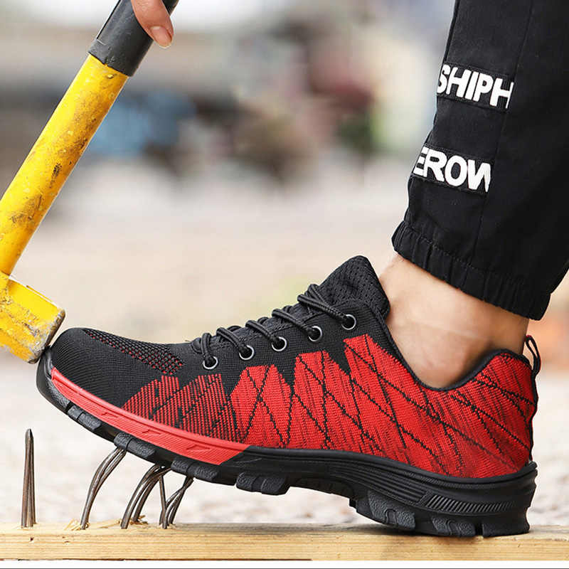 2019 Winter mannen Laarzen Vliegende Geweven Veiligheid Werk Schoenen Onverwoestbaar Schoenen Wearable In Alle Seizoenen antislip Veiligheid schoenen