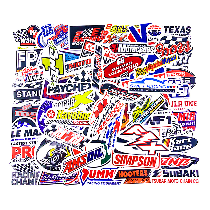 <font><b>50</b></font> PCS Racing Car <font><b>Stickers</b></font> Car Styling JDM Waterproof <font><b>Sticker</b></font> to DIY Motocross Racing Helmet Bicycle Skateboard Laptop Luggage image