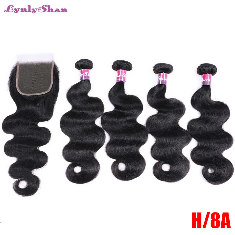 Lynlyshan Body Wave 4Bundles With 4*4 Closure Indian Remy Hair Weave 100% Human Hair Bundle With Closure Hair Extension