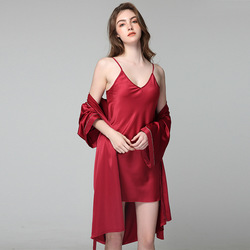 2pc Pajamas Sets For Women Sexy Lady Robe 2020 Homewear Pour Femme Summer Sling Sleepwear Spring Autumn Nightdress Night Suit