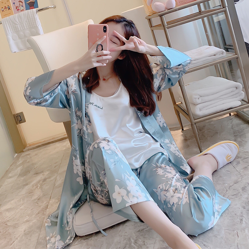 Three-piece Set-Pajamas Women's Spring And Autumn Ice Silk Long Sleeve Imitated Silk Fabric Sexy Trousers Women's Robes Thin Sum