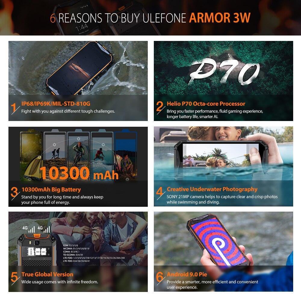 Image 5 - Ulefone Armatura 3W Smartphone Rugged Android 9.0 IP68 5.7 Helio  P70 6G   64G 10300mAh telefono cellulare 4G Dual SIM Del Telefono  Cellulare Android-in Telefoni cellulari e smartphone da Cellulari e  telecomunicazioni su