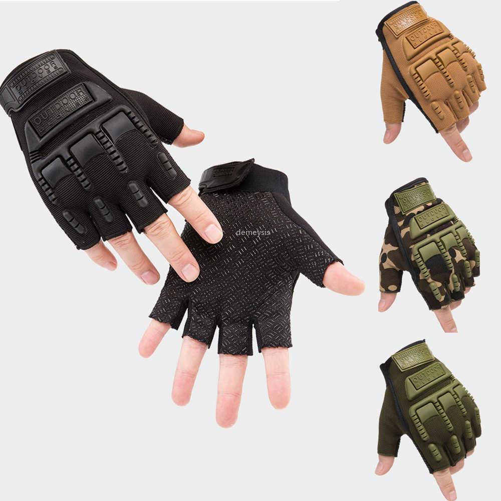 Men Anti-Slip Silicon Gloves Full//Fingerless Mountaineering Riding Outdoor Sport