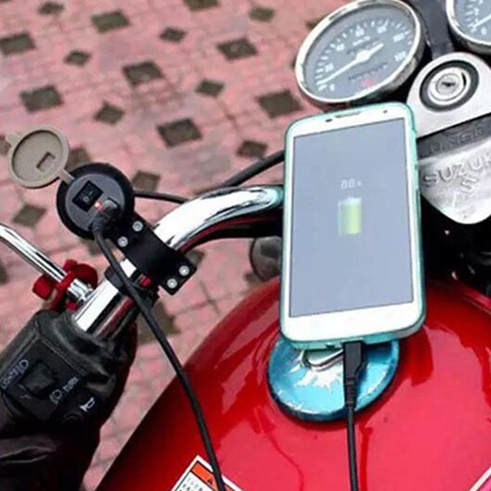 Yfashion Motorcycle USB Charger With Switch Waterproof Scooter Mobile Phone Charger 12V Accessories