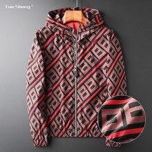 Kurtki jesienne moda męska 2020 luksusowa drukowana kurtka Bomber Casual Slim Fit z długim rękawem płaszcze społeczne męskie wiatrówka znosić
