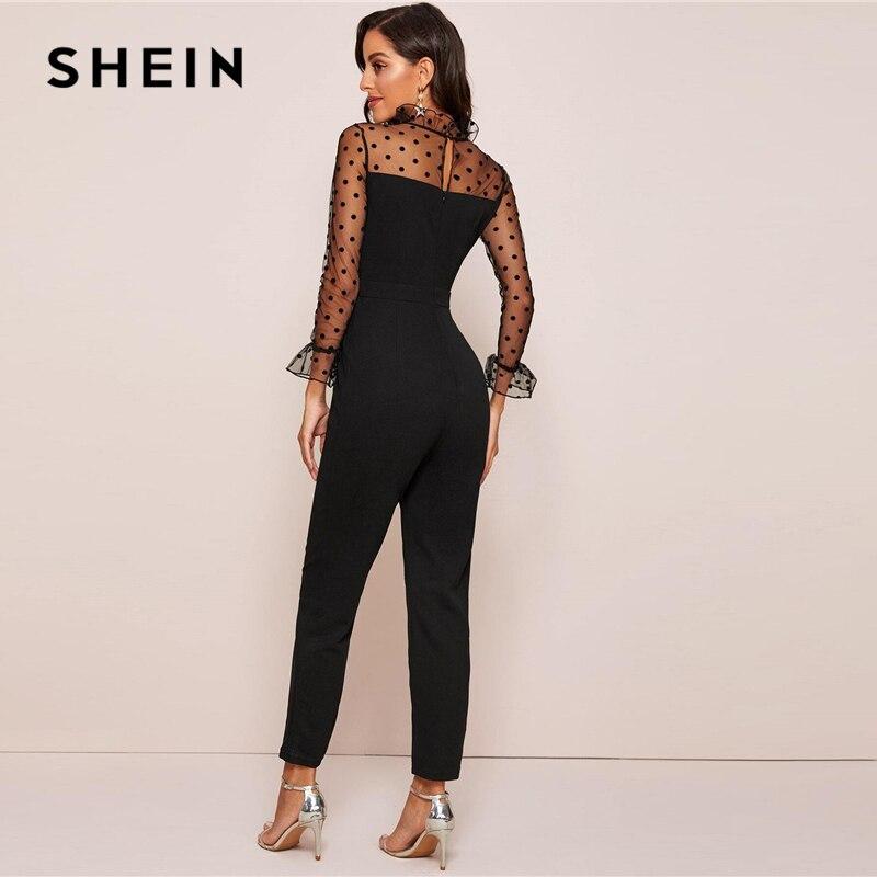 SHEIN Black Ruffle Trim Polka Dot Mesh Elegant Jumpsuit Women Spring Stand Collar Flounce Sleeve Button Back Sheer Jumpsuits 2