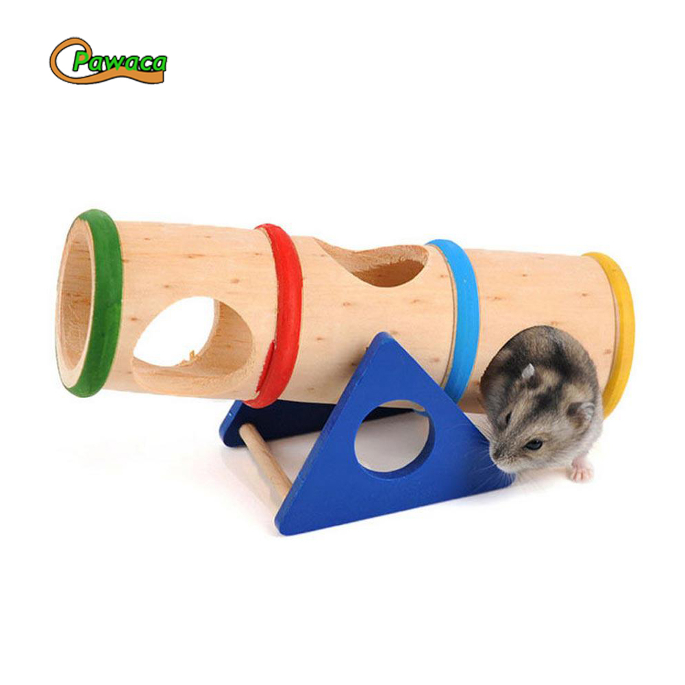 Wooden Porous Seesaw Toys For Hamster font b Pet b font Accessories Product Rainbow Upturned Barrel