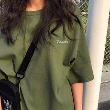 BF Stil Frauen T Shirt Kurzarm Oansatz Weibliche Tops Tees Stickerei Einfarbig Beiläufige Lose Sommer t-shirt 2020 Neue