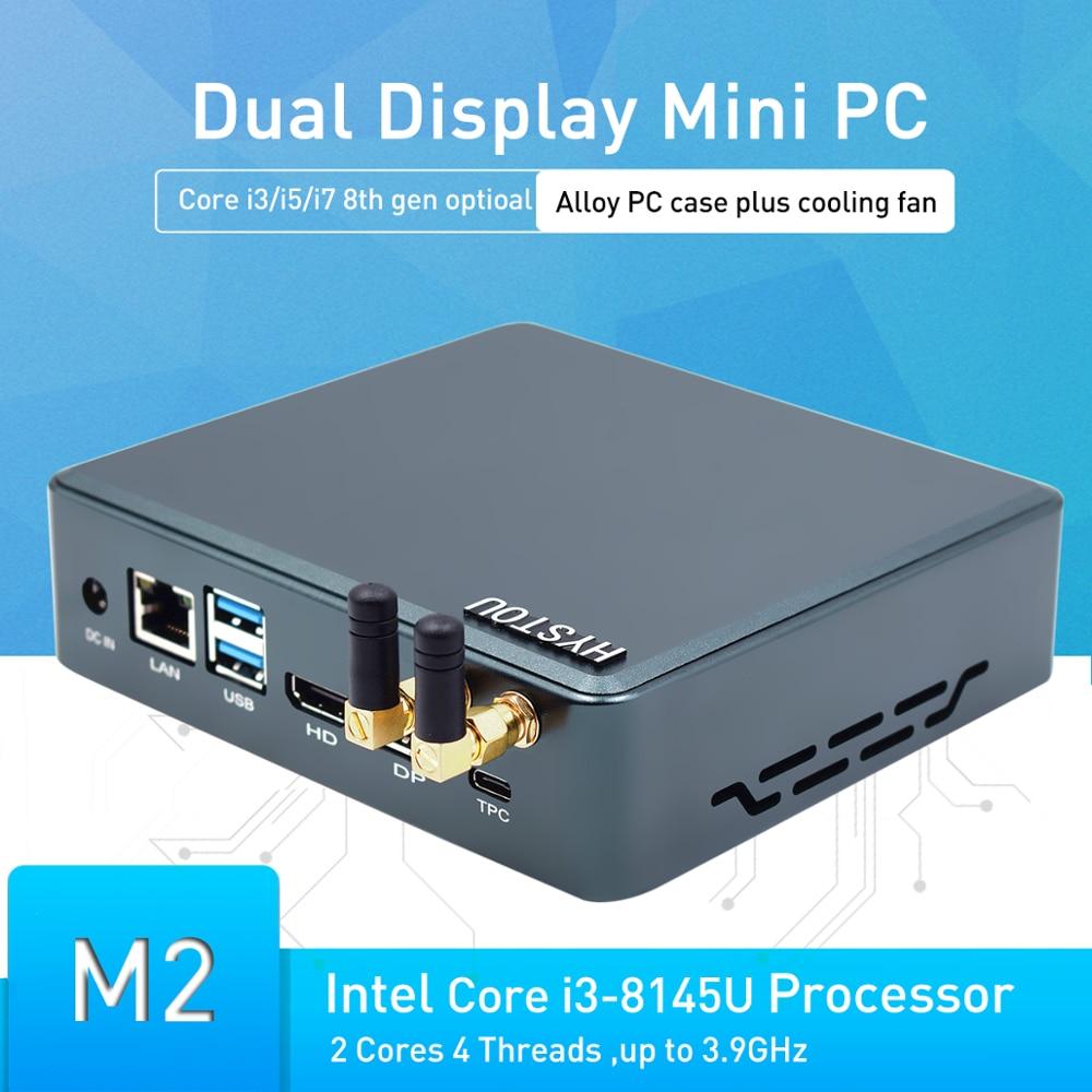 Hystou Newest 8th Gen Core I7 8145U 8265U 8565U M.2 SSD Type-c HD 2.0 DP 4K Cooling-Fan Computer Pentium Gold 5405U Wifi