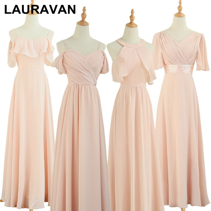 Long Chiffon Plus Size Bridesmaid Light Pink Bridemaid Dress Women Formal Special Occasion Dresses For Weddings 2020