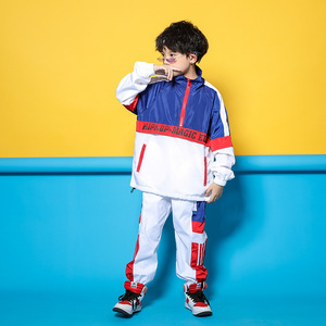 Image 3 - Детская синяя и белая куртка, штаны для бега, одежда в стиле хип хоп, костюм для джазовых танцев для девочек и мальчиков, уличная одежда для бальных танцев