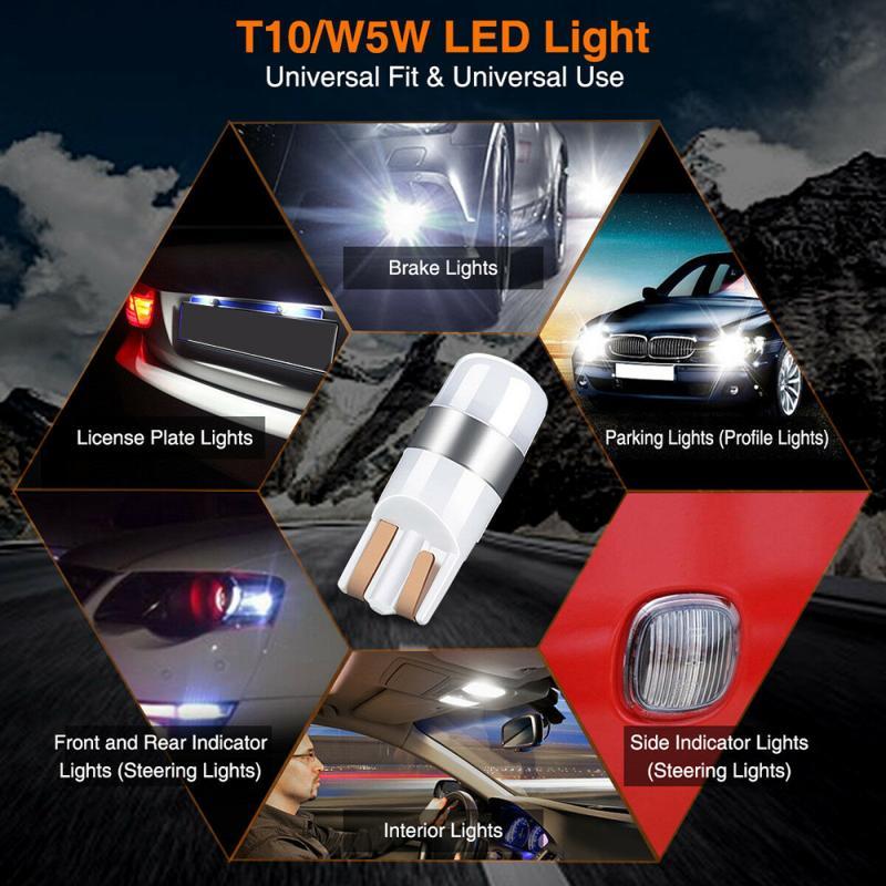Mini 1PC New T10 W5W Super Bright 1000Lm 3030 LED Auto Parking Interior License Plate Lamp Sidemarker Bulbs Car DRL Light