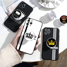 Luxury King Queen Lovers Stand Phone Holder Case For iPhone 11 Pro X XR XS Max 7 8 6 S Plus SE 2020 Case Silicone Soft TPU Cover цена 2017