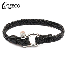 CUTEECO  Mens Leather Bracelets Multi-layer Woven Tide Bracelet Multicolor & Bangle Anchor