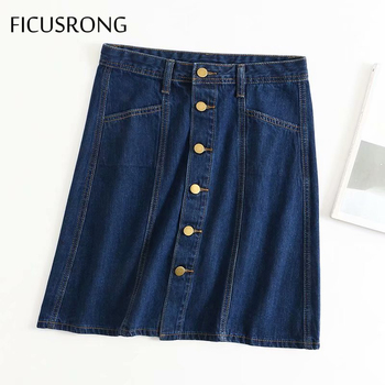 FICUSRONG Women Single-Breasted Jeans Skirts 2020 Summer Female Streetwear Cotton Knee-Length Natural Straight Solid Denim Skirt vintage single breasted solid color furcal denim suspender skirt
