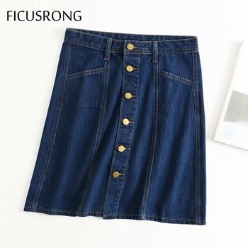 FICUSRONG Women Single-Breasted Jeans Skirts 2020 Summer Female Streetwear Cotton Knee-Length Natural Straight Solid Denim Skirt girls single breasted denim skirt
