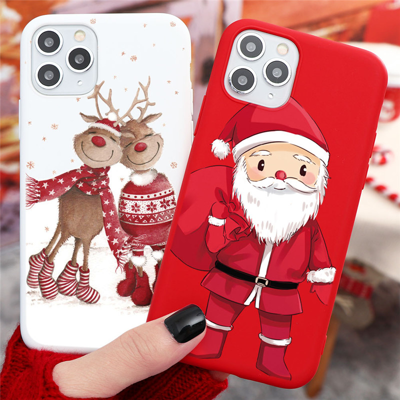 New Christmas Deer Santa Claus Phone Case For iPhone 12