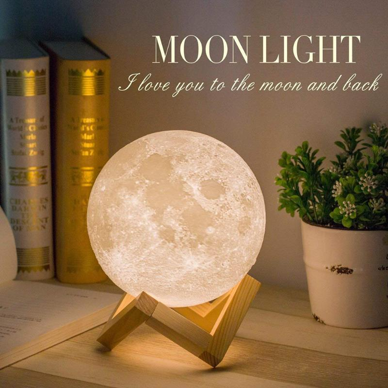 USB Rechargeable 3D Print LED Moon Light 3 Colors Touch Dimmable Night Lamp