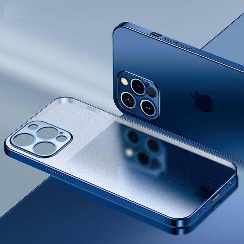 Custodia in Silicone morbido opaco con cornice quadrata di lusso per iPhone 11 12 Pro Max Mini XR X XS 7 8 Plus SE 2020 Cover trasparente 1