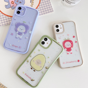 Cartoon Lovely Strawberry Avocado Case For iphone 11 Pro Max XR X XS Max 7 8 Plus 7Plus Shockproof Bumper Transparent Soft Cover image