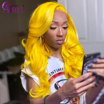 Yellow Wig Hd Lace Frontal Wig Body Wave Lace Front Wig Pre Plucked 613 Blonde Wig Peruvian Virgin Hair Colored Human Hair Wig image