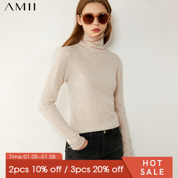 Amii Minimalism Autumn Winter Fashion Women's sweater Causal Solid Cashmere turtleneck Sweater Pullover Tops 12020346 - discount item  45% OFF Sweaters