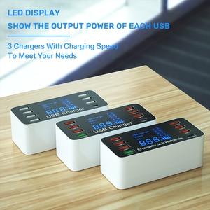 Image 5 - 60 واط 8 منافذ USB شاحن LED عرض سريع تهمة PD شاحن الهاتف محول PD3.0 QC3.0 سريع شاحن ل شاومي آيفون هواوي