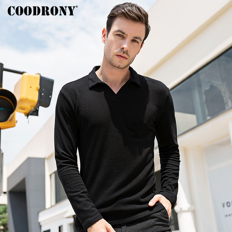 COODRONY Brand Long Sleeve T Shirt Men Cotton Tee Shirt Homme Bottoming Shirt Fashion Casual Turn-down Collar T-shirt Tops C5004