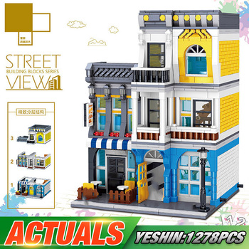 Yeshin Street Building Toys The Summer Coffee Shop Set Compatible With Lepining 10182 Building Blocks Bricks Kids Christmas Gift
